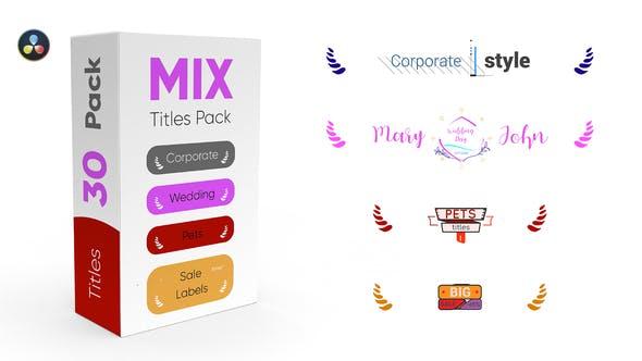 达芬奇模板-30组企业商务宠物销售婚礼文字标题动画 Mix Titles Pack插图