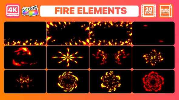 FCPX插件-12组二维卡通动漫火焰燃烧动画 Fire Elements And Backgrounds插图