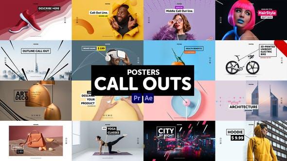 AE/PR模板-16组时尚宣传海报指示线呼出文字标题介绍动画 Posters Call Outs插图