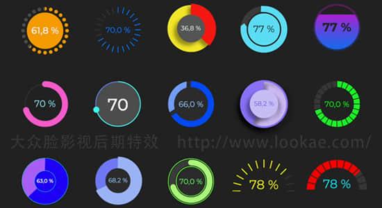 FCPX插件-15个圆形数据百分比图形动画 Circle Chart Graphics插图