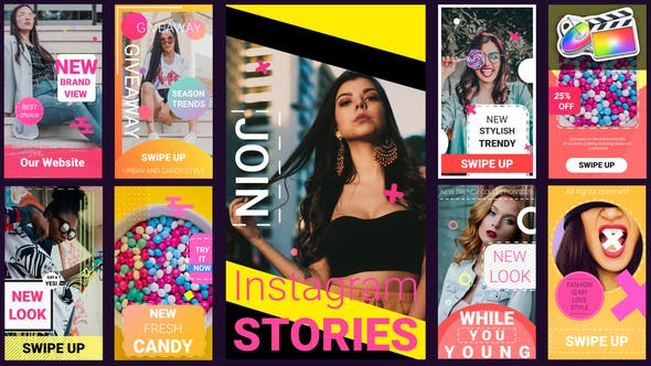 FCPX插件-9组时尚手机竖屏排版封面设计宣传动画 INS Stories插图