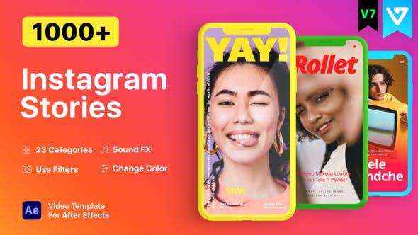 AE脚本-1000个时尚竖屏封面海报宣传设计包装动画 Instagram Stories V7.1插图