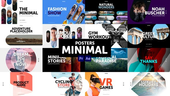 AE/PR模板-流行大标题图文海报设计动画 Posters Minimal插图