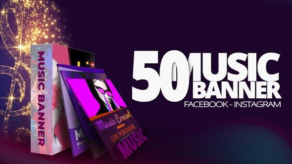 AE模板-50个音乐MV专辑发行宣传封面包装设计动画 Music Banners插图